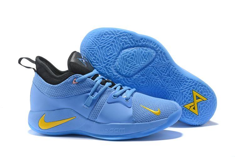 443fd668f497 Men s Nike Zoom PG 2 Blue Black Yellow Basketball Shoes
