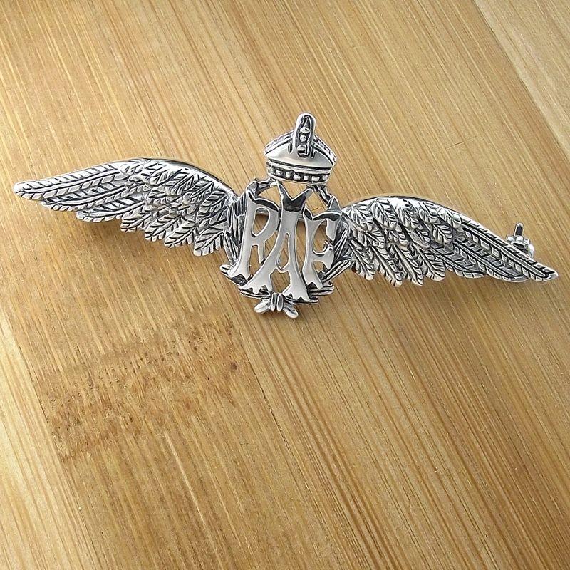 RAF Wings Sterling Silver Sweetheart Pin Badge/Brooch