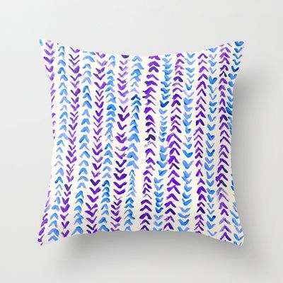 Hand Painted Herringbone Pattern in Purple & Blue Throw Pillow by Tangerine-Tane - $20.00