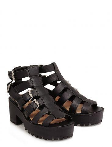8b428e6570ea Black chunky Buckle Detail Platform Sandal Size 8 - La Moda