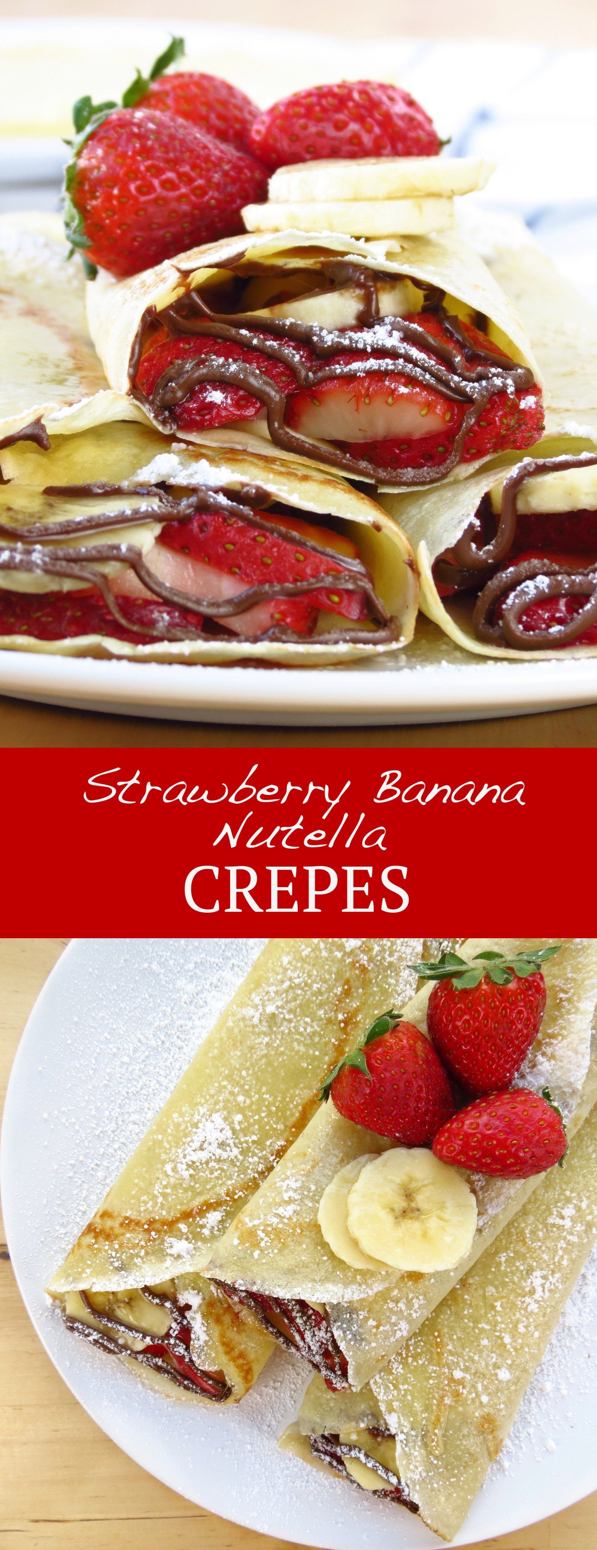 Strawberry Banana Nutella Crepes | Recipe | Nutella crepes ...