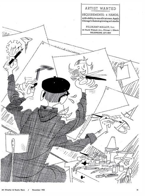 Artist Wanted: Requirements: 4 Hands, Nov.1953, Art Director & Studio News.