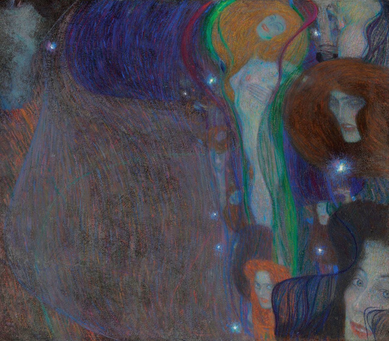 Gustav Klimt - Irrlichter (Will-o'-the-Wisp) , 1903 Oil on board laid down on canvas Private collection