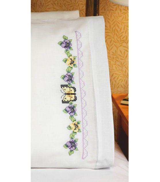 Pansies & Butterflies Pillowcase Pair Stamped Cross Stitch - 20X30 ...