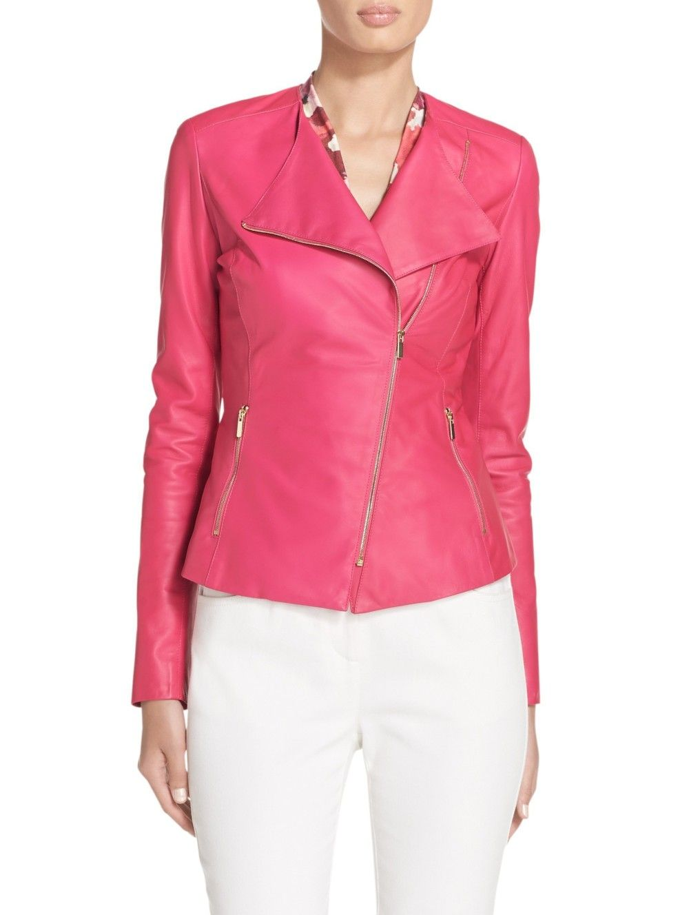 9ff74bf7420 Luxe Nappa Leather Moto Jacket | St. John Knits | Sewing | Designer ...