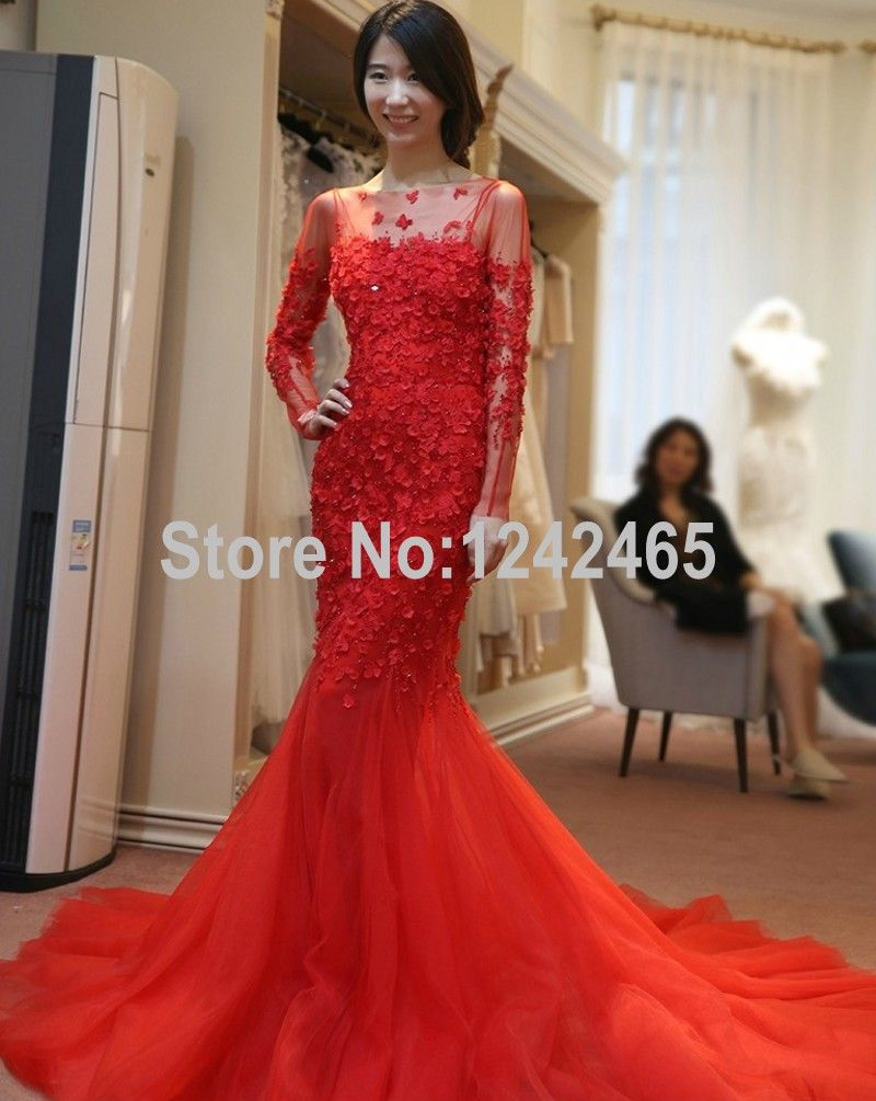 Newest beaded long sleeve mermaid wedding dress sweep train tulle