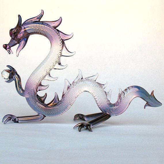 Dragon Serpent Figurine Hand Blown Glass by ProchaskaGallery