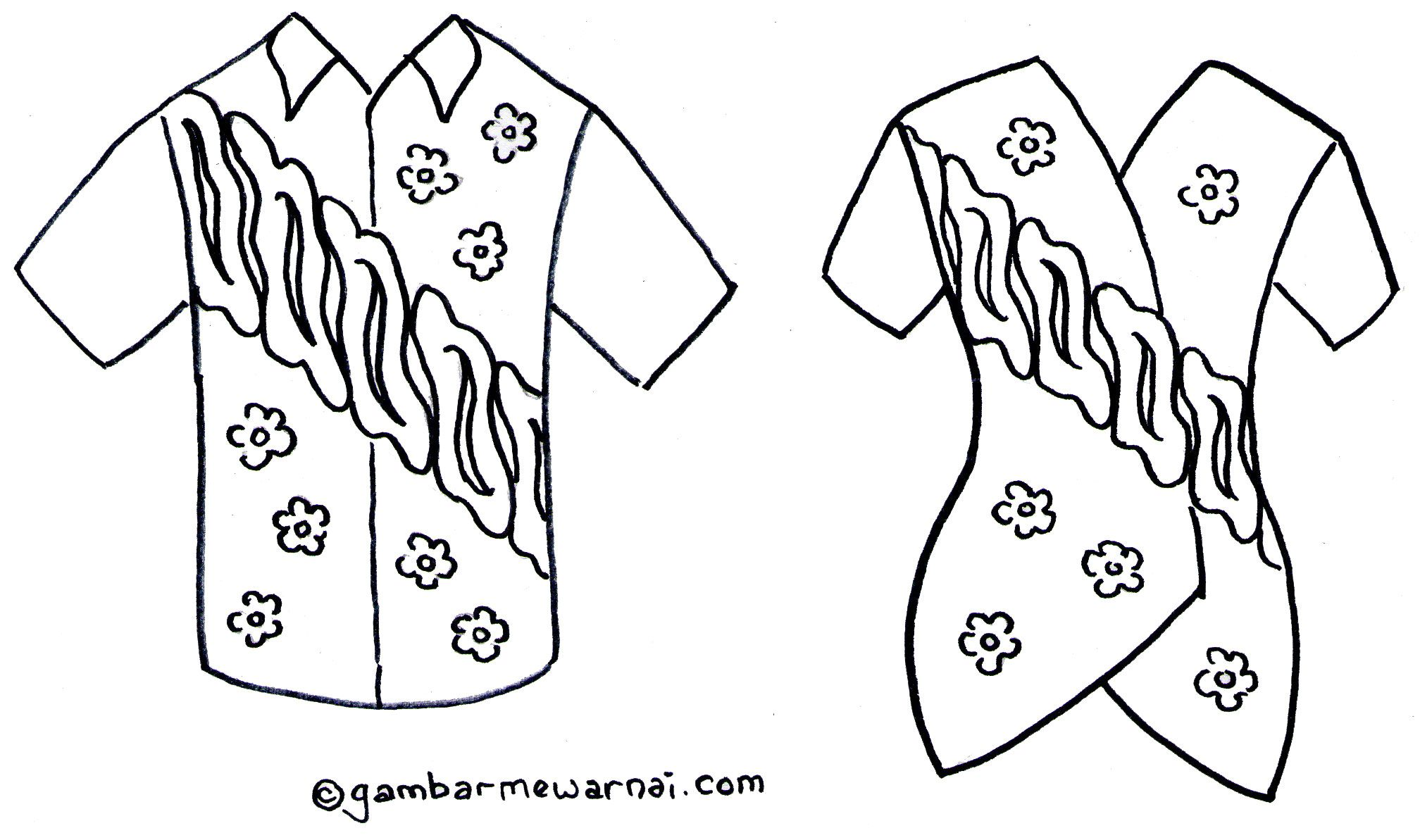 Gambar Mewarnai Baju Batik Yang Dipakai Pinterest