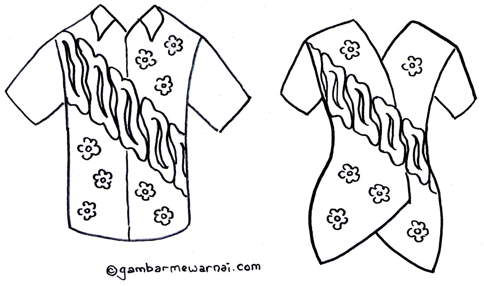 Gambar Mewarnai Baju Batik Buku Mewarnai Warna Gambar
