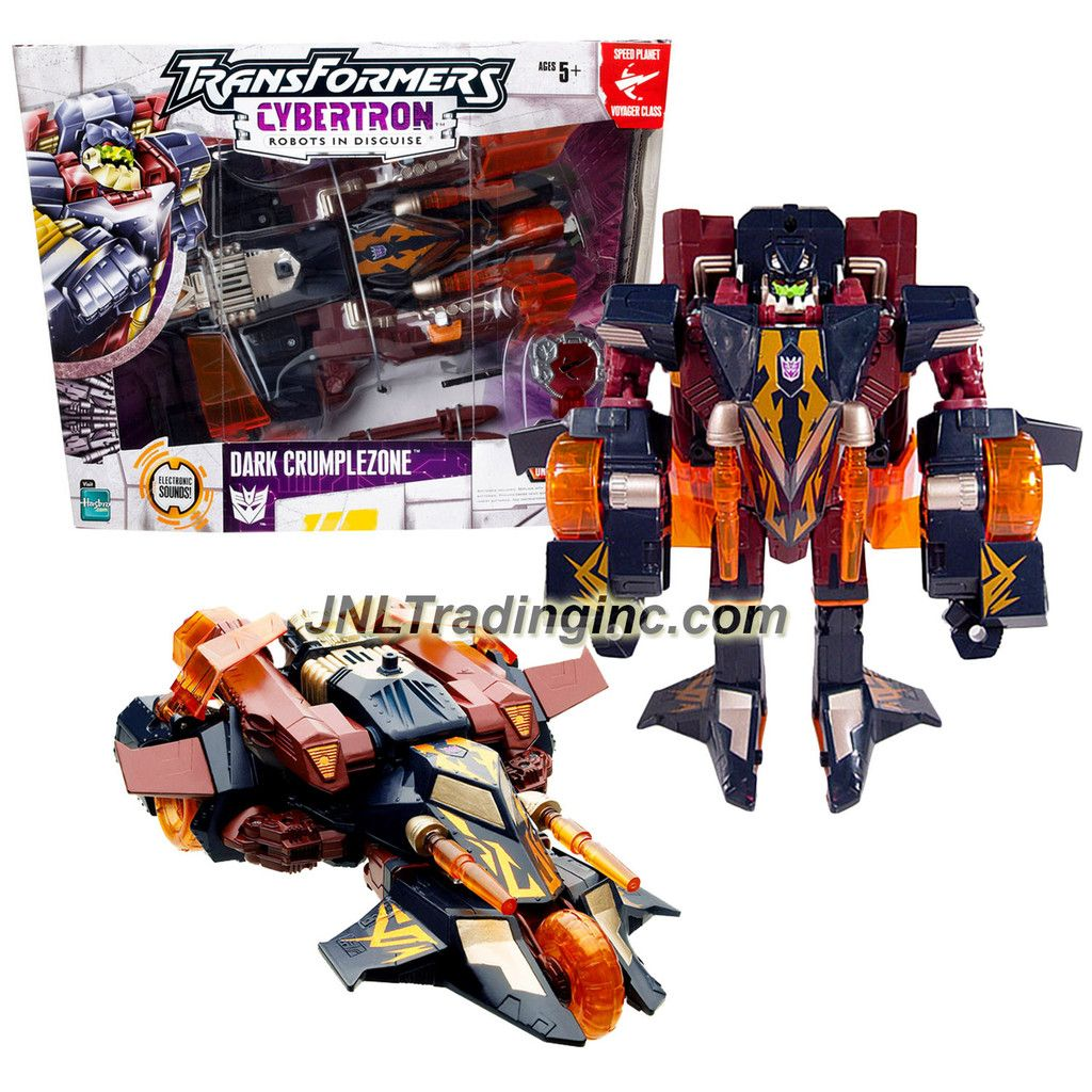 Hasbro Year 2005 Transformers Cybertron Series Voyager Class 8 Inch Tall Robot Action Figure - Decepticon DARK CRUMPLEZONE with Electronic Sounds, Double-Barreled Shell Launchers and Speed Planet Cyber Key (Vehicle Mode: Cybertronic Race Car)