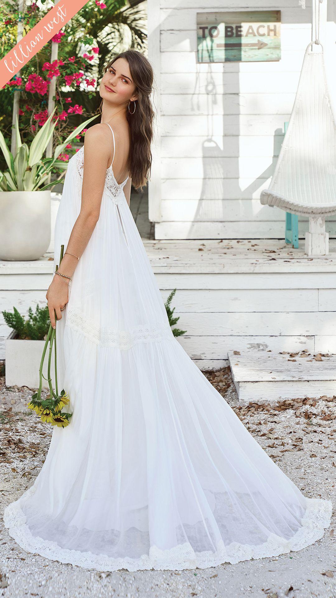 Style 66034 Every Traditional Bohemian Bride Will Fall In Love With This Silk Chiffon Babydoll Dre Beach Wedding Dress Lillian West Wedding Dress Lillian West