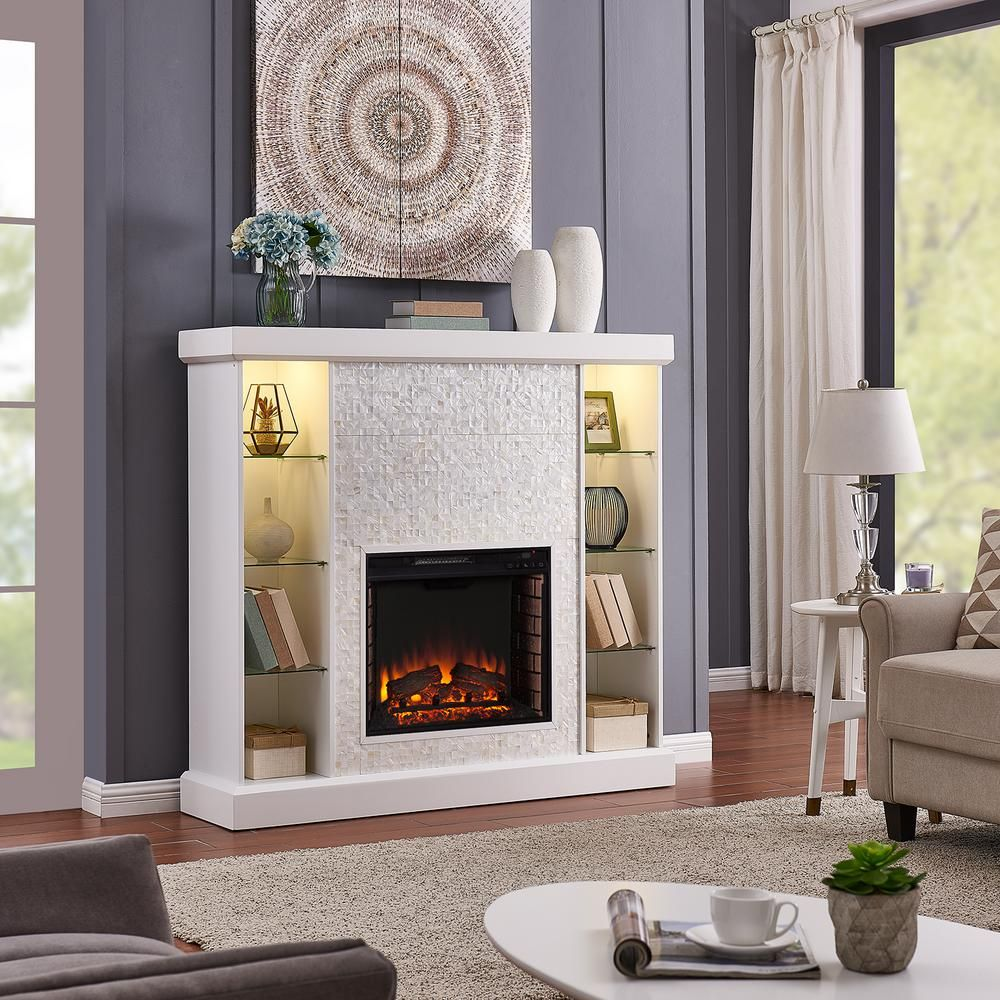 Southern Enterprises Bekston 55 in. Mosaic Tiled Curio Electric Fireplace in White in 2020 ...