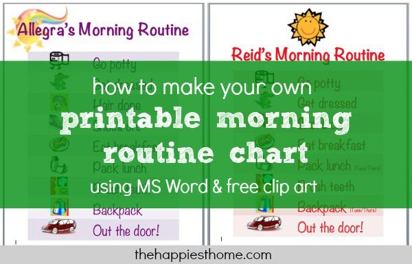 How To Make A Morning Routine Chart Using Ms Word  Free Clip Art