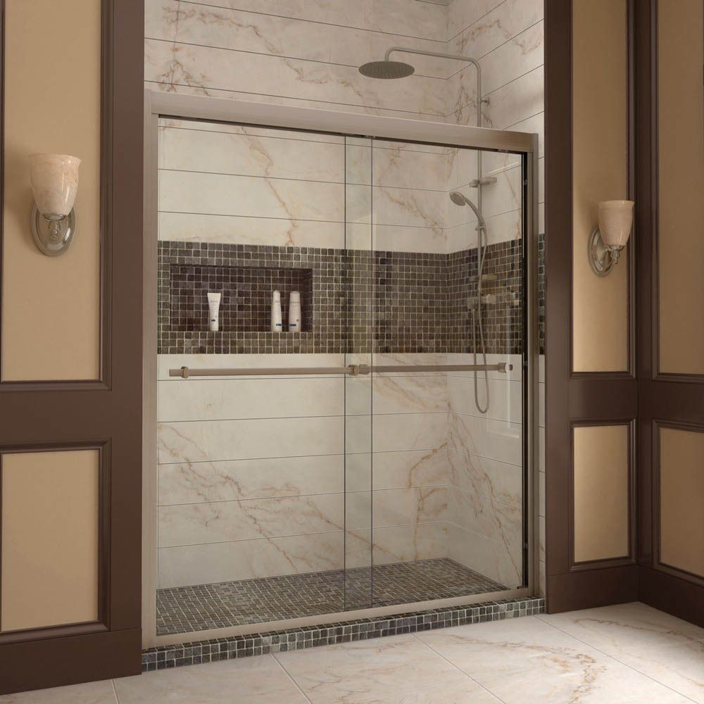 bypass shower door. Semi-Framed Bypass Sliding Shower Door In Brushed - The Home Depot S