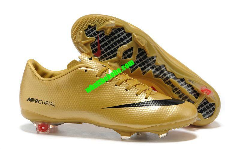 Nike Mercurial 2013 Cristiano Ronaldo Cleats Vapor IX FG Boots - Golden  Black 98552eaedf881