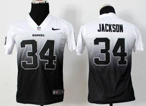 Nike Raiders  34 Bo Jackson White Black Youth Stitched NFL Elite Fadeaway  Fashion Jersey 532afcfac