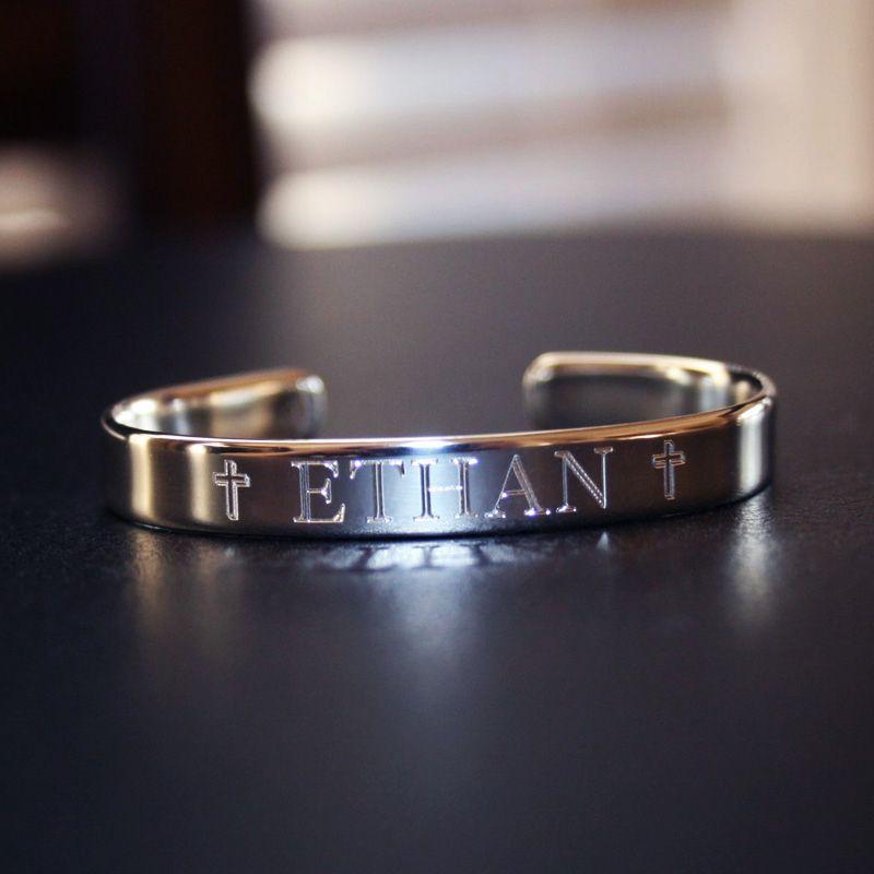 027857863 BeadifulBABY :: Ethan - Boys Heirloom Christening Bracelet - High-End  Sterling Silver Engraved Boys Cuff Bracelet - Size 4