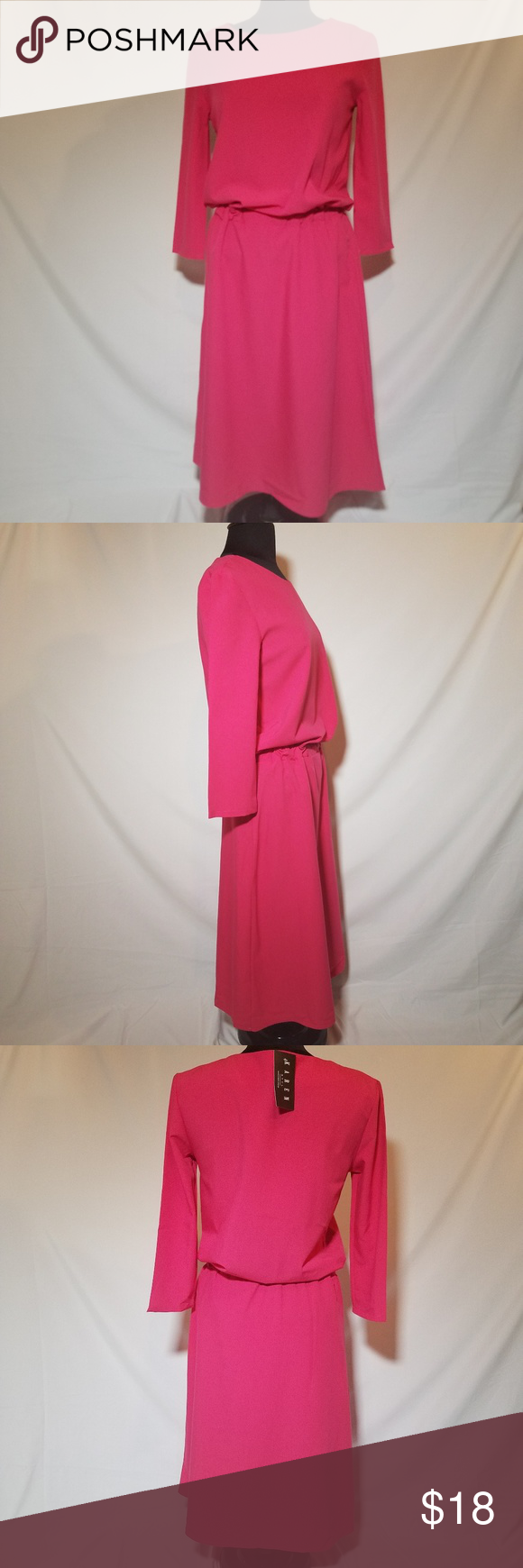 Karen styl pink mid sleeve long dress b nwt in my posh