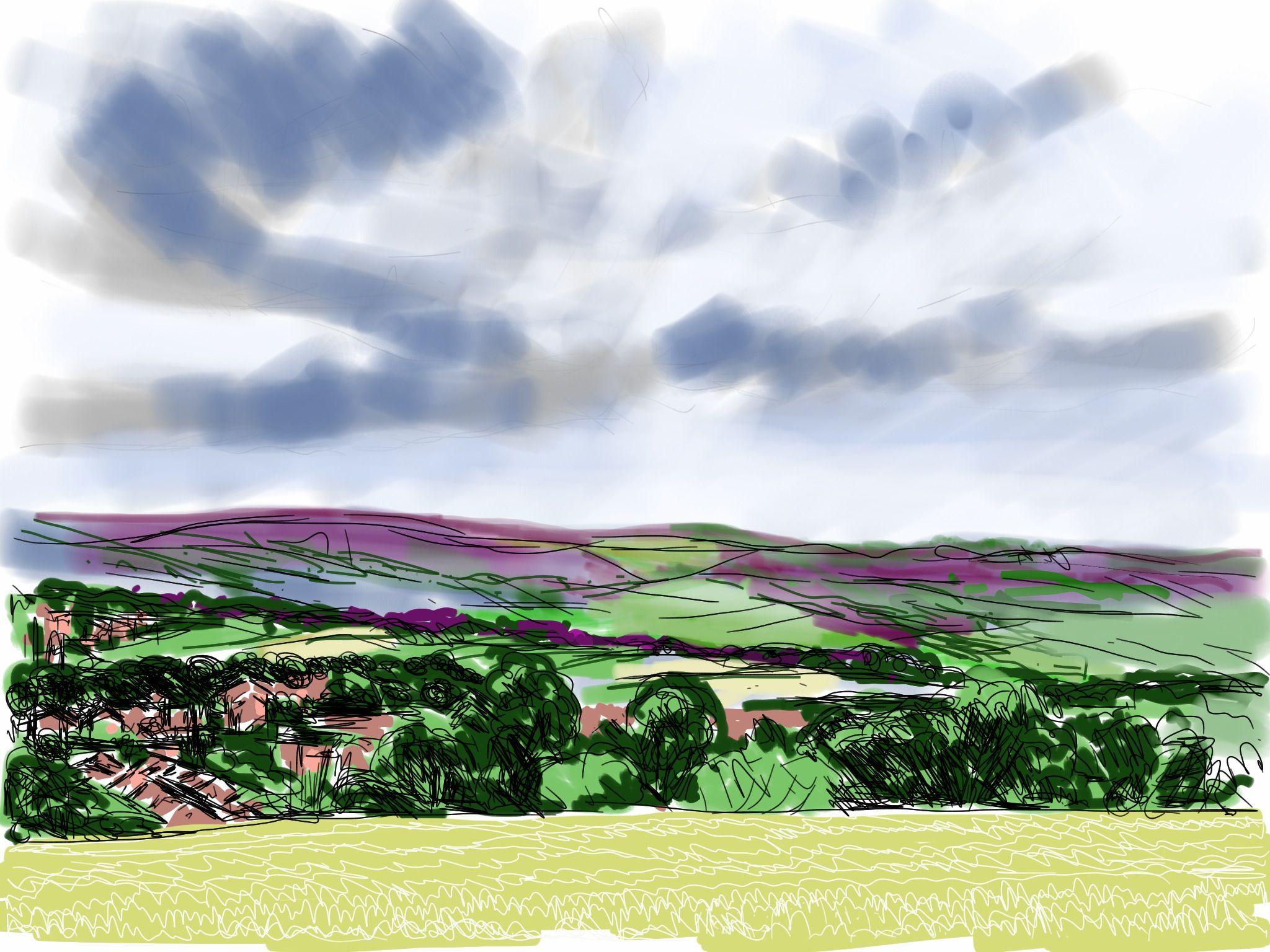 Craig Longmuir Dronfield From Apperknowle Ipad Drawing Landscape Drawings Ipad Drawings Landscape