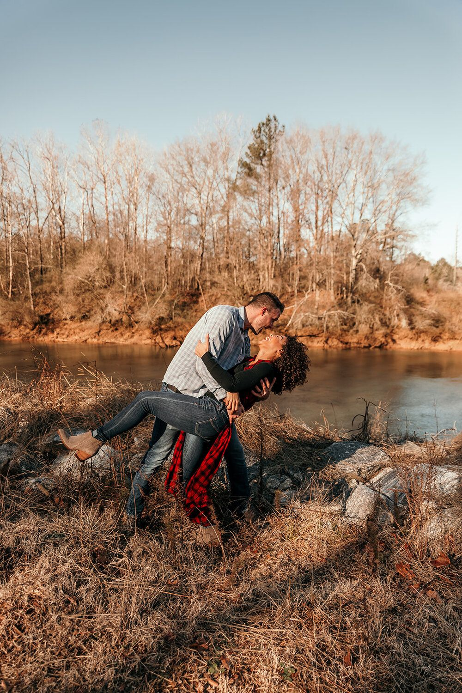 Waterfront Kisses   Fun & Romantic Couples Session   Sugar Hill Georgia   Chattahoochee River