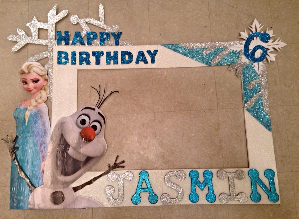 Frozen Picture Frame for 6yr old bday party - Elsa & Olaf