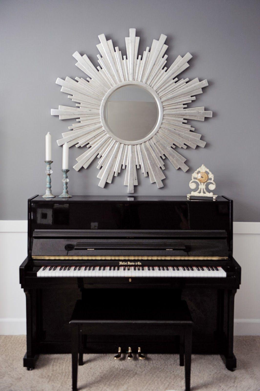 Sunburst Mirror over upright piano...Grandma's white baby grand instead