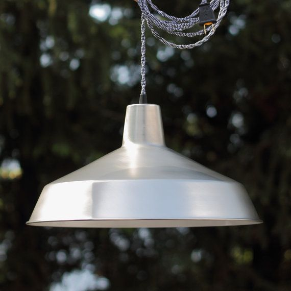 Pendant Light in Satin Nickel Industrial by BlueMoonLights. For over table
