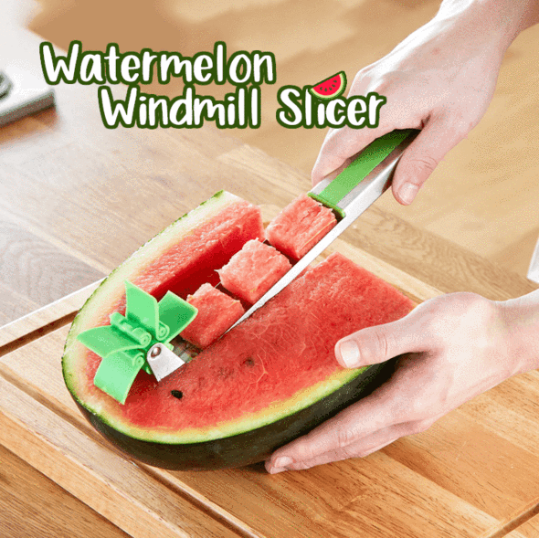 Watermelon Windmill Slicer is part of Watermelon slicer - Introducing the Watermelon Windmill Slicer, an innovative slicer comes with an automatic cutter blade  Make your own watermelon salad in one minute, enjoy refreshing fruit cubes hassle free without dealing with drippy mess  Simply push the cutter into watermelons, the juicy cubes come out automatically! FEATURES Water
