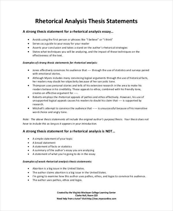 Do summaries have thesis statements