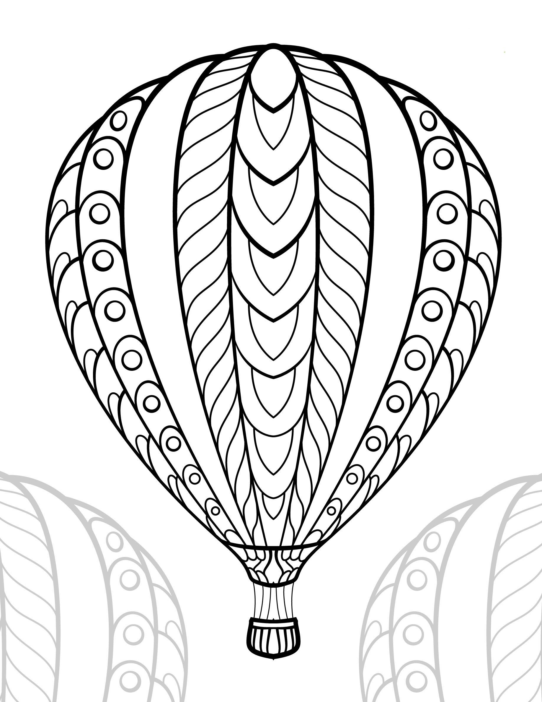 Hot Air Balloon Coloring Pages For Girls In 2020 Hot Air Balloon Drawing