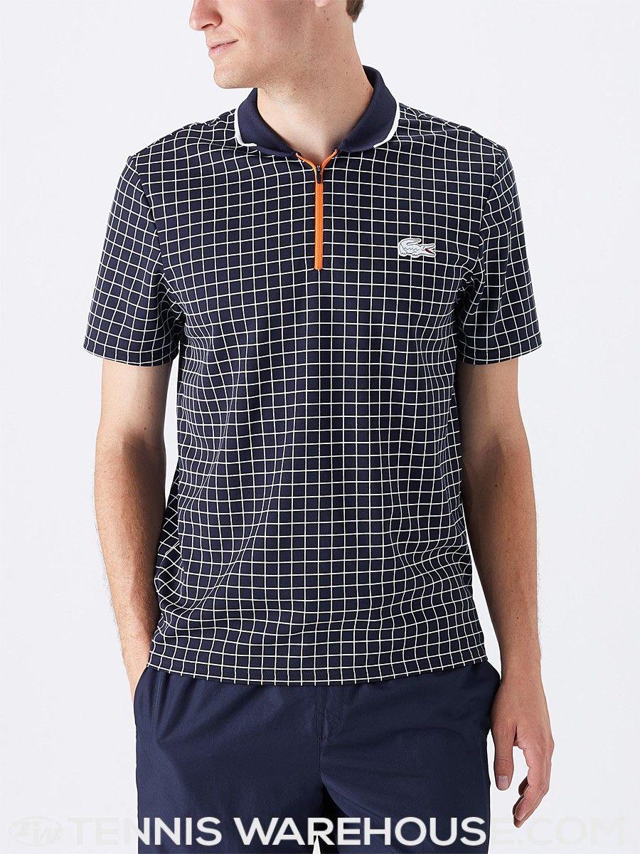 Lacoste Men s Roland Garros Micro Check Polo Tennis Wear ddfada373a8