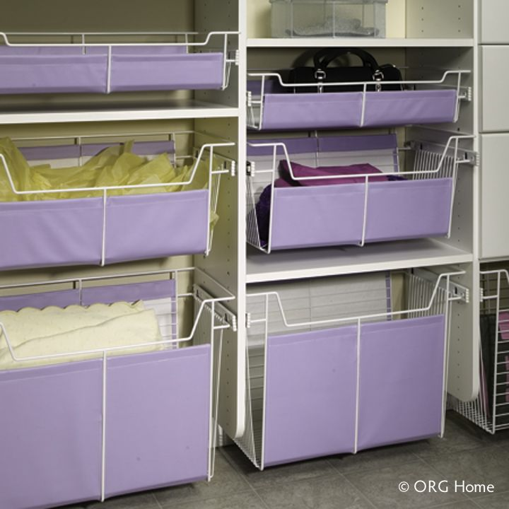 Slide Out Wire Basket Storage With Canvas Liners