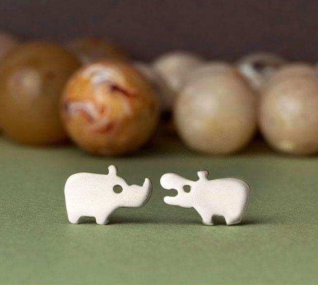 Safari Friends Rhino Elephant Stud Earrings in sterling silver jewelry kids women mom teens mom jewelry christmas earrings