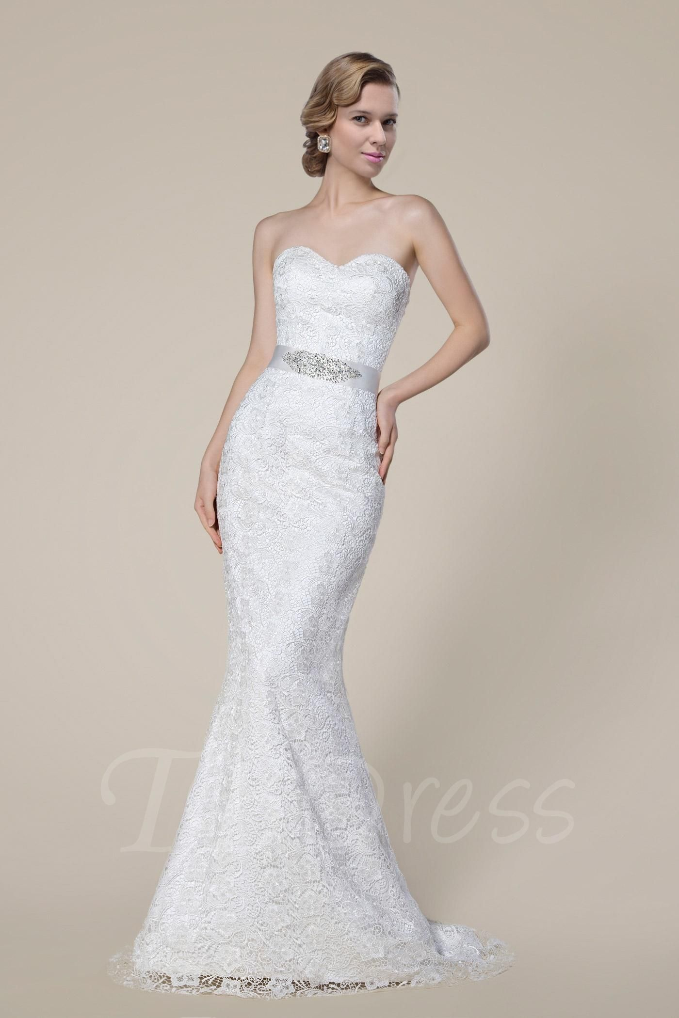 Tbdress tbdress strapless sweetheart zipperup lace floor length
