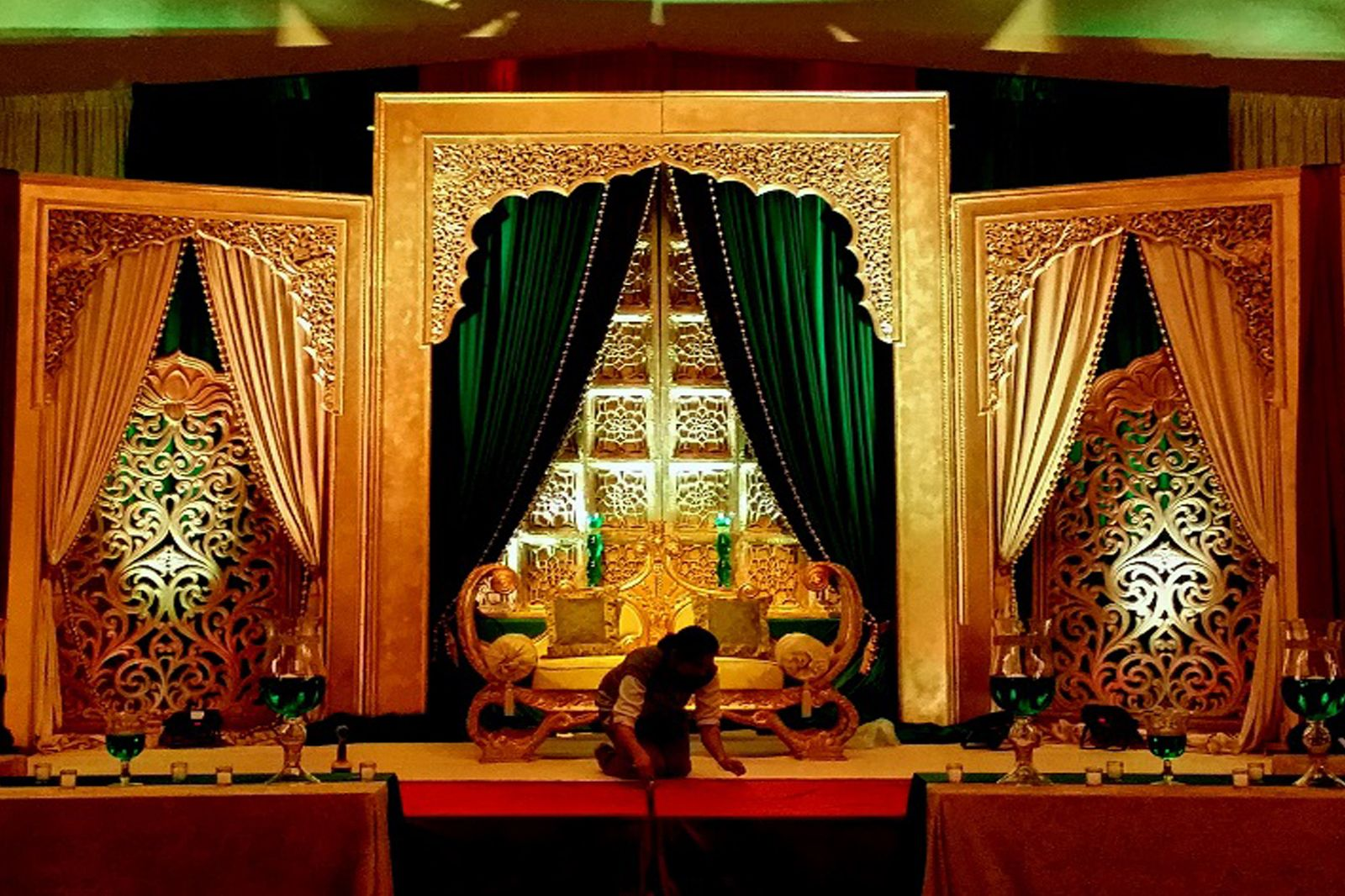 Wedding decoration stage ideas  Indian wedding decorations  Mehndi   Pinterest  More Indian
