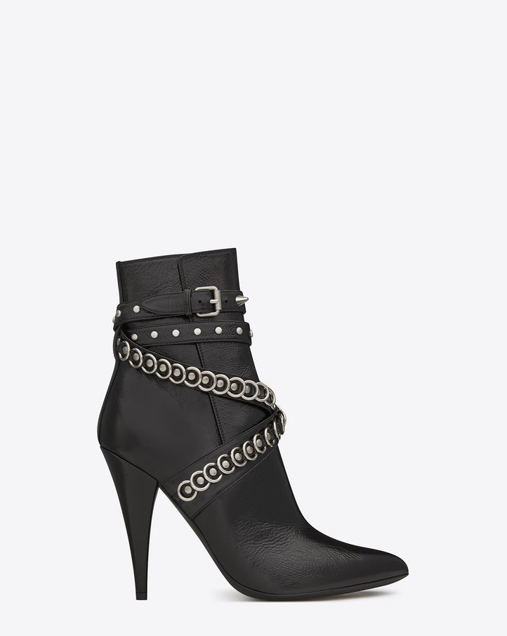 saintlaurent, FETISH 105 Multi-Studded Strap Ankle Boot in Black shiny Leather