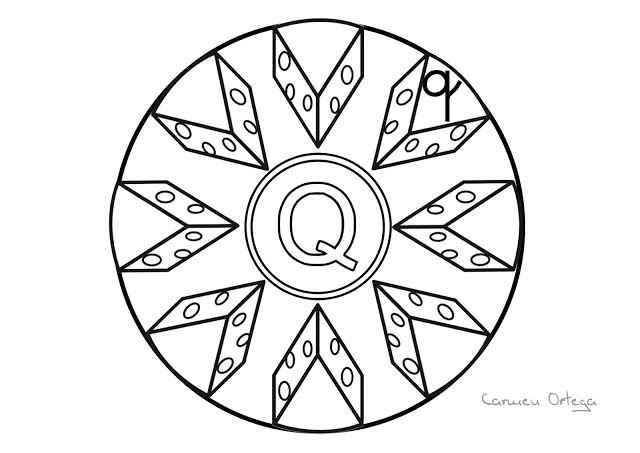 Dibujos Para Colorear Letra Q: Mandalas Del Abecedario Para Colorear: Letra Q