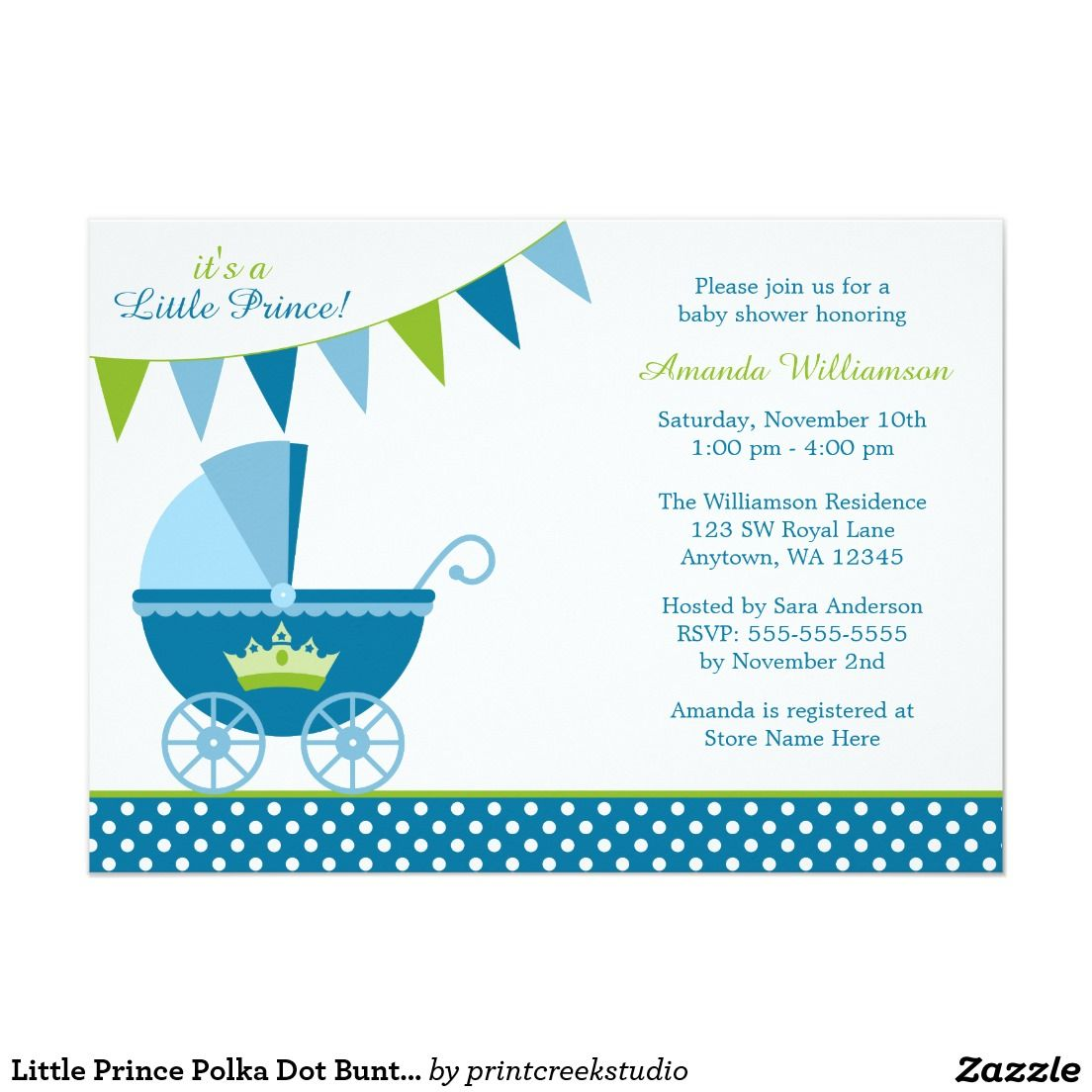 Little prince baby shower invitations. A cute blue and green design ...