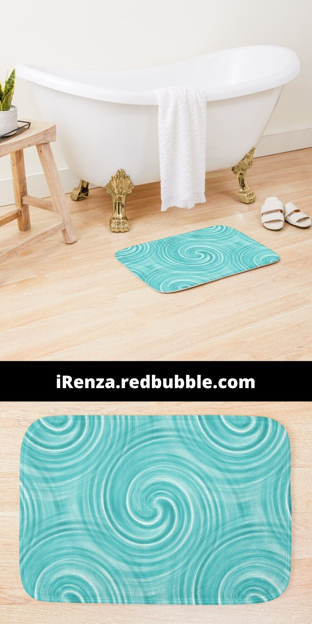 'Blue swirl liquid marble' Bath Mat by iRenza in 2020