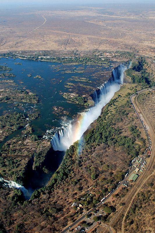 Mosi Oa Tunya The Smoke That Thunders Aerial View Waterfall Wonders Of The World