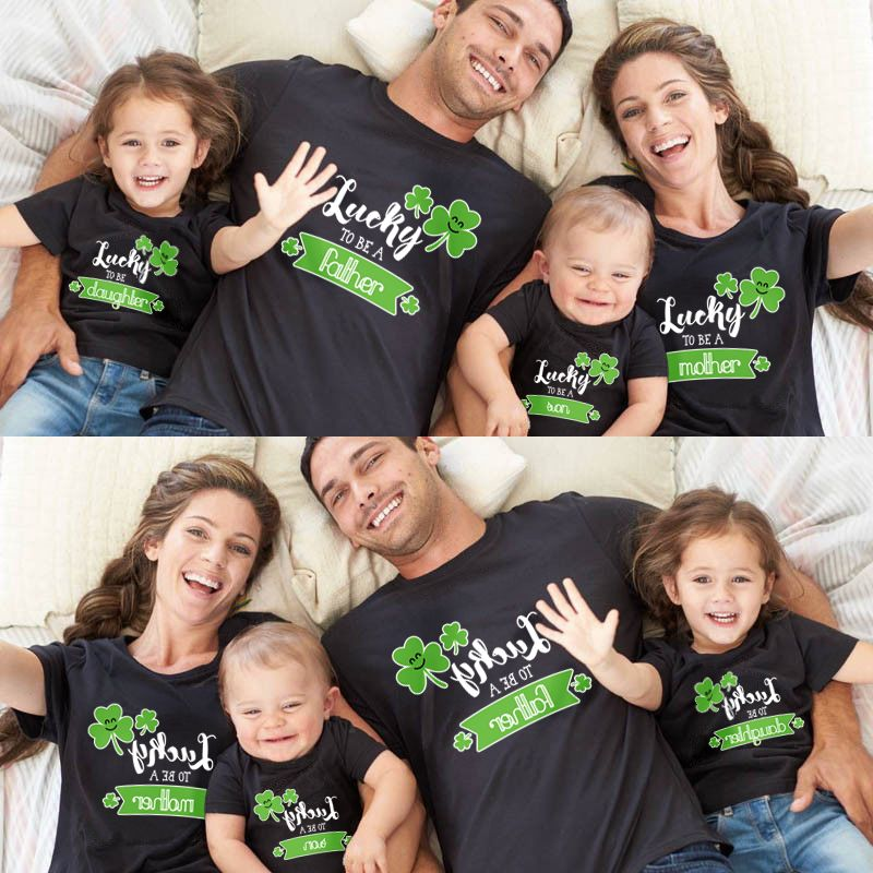 91337de2 Cute St. Patrick's Day t-shirts for the whole family. Matching shirts for  mother, father, daughter and son. With cloverleaf, the perfect gift for St.  ...