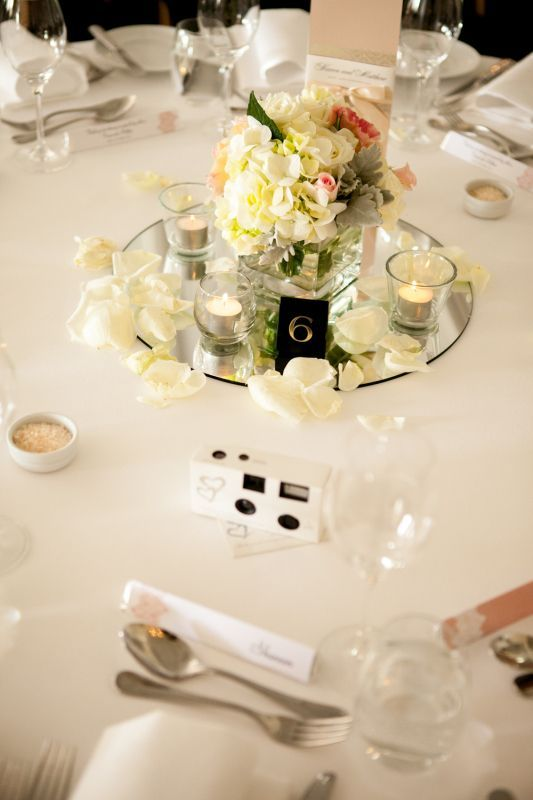 The Beautiful Simple And Charming Mason Jar Centerpiece Option Love The Combina Simple Wedding Centerpieces Flower Centerpieces Wedding Wedding Centerpieces