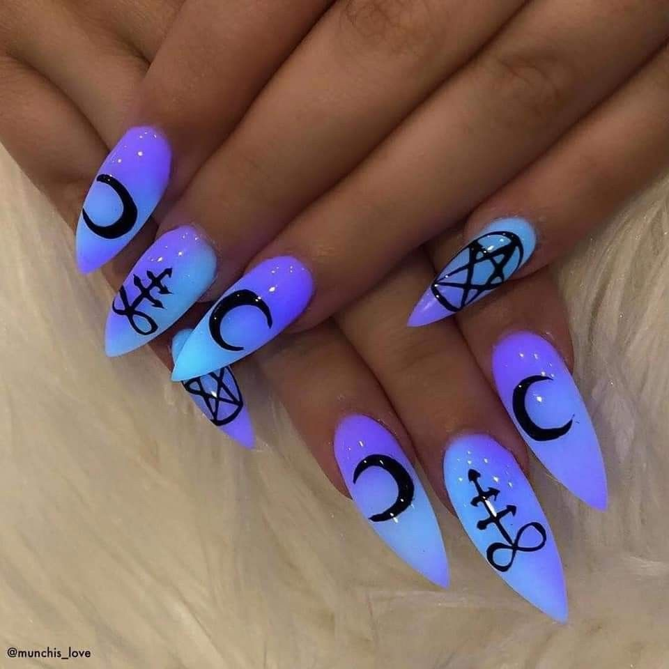 Nails Acrylic Witch Moon Pentagram Glow In The Dark Gel Long Nails Blue Purple Wiccan Wicca Fashion Pagan Glow Nails Witchy Nails Gothic Nails