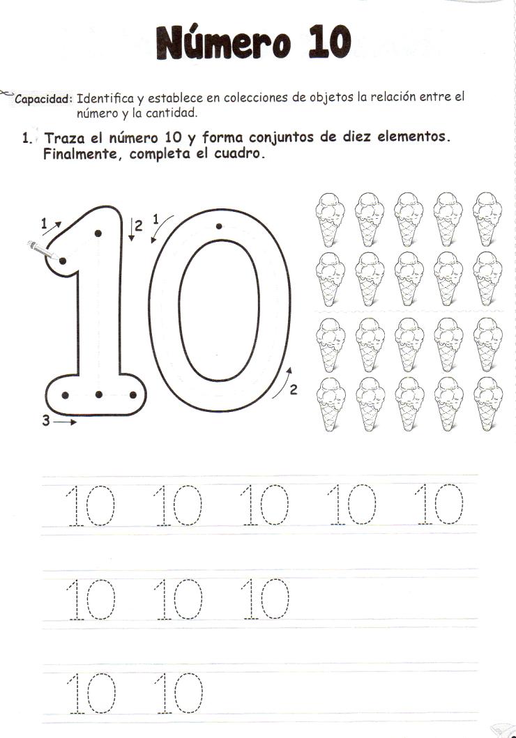 Ficha imprimible de matemáticas para 5 años. Tema: El número 10 ...