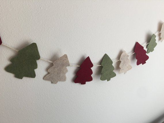 Felt Christmas Tree Garland Country Christmas Garland Olive