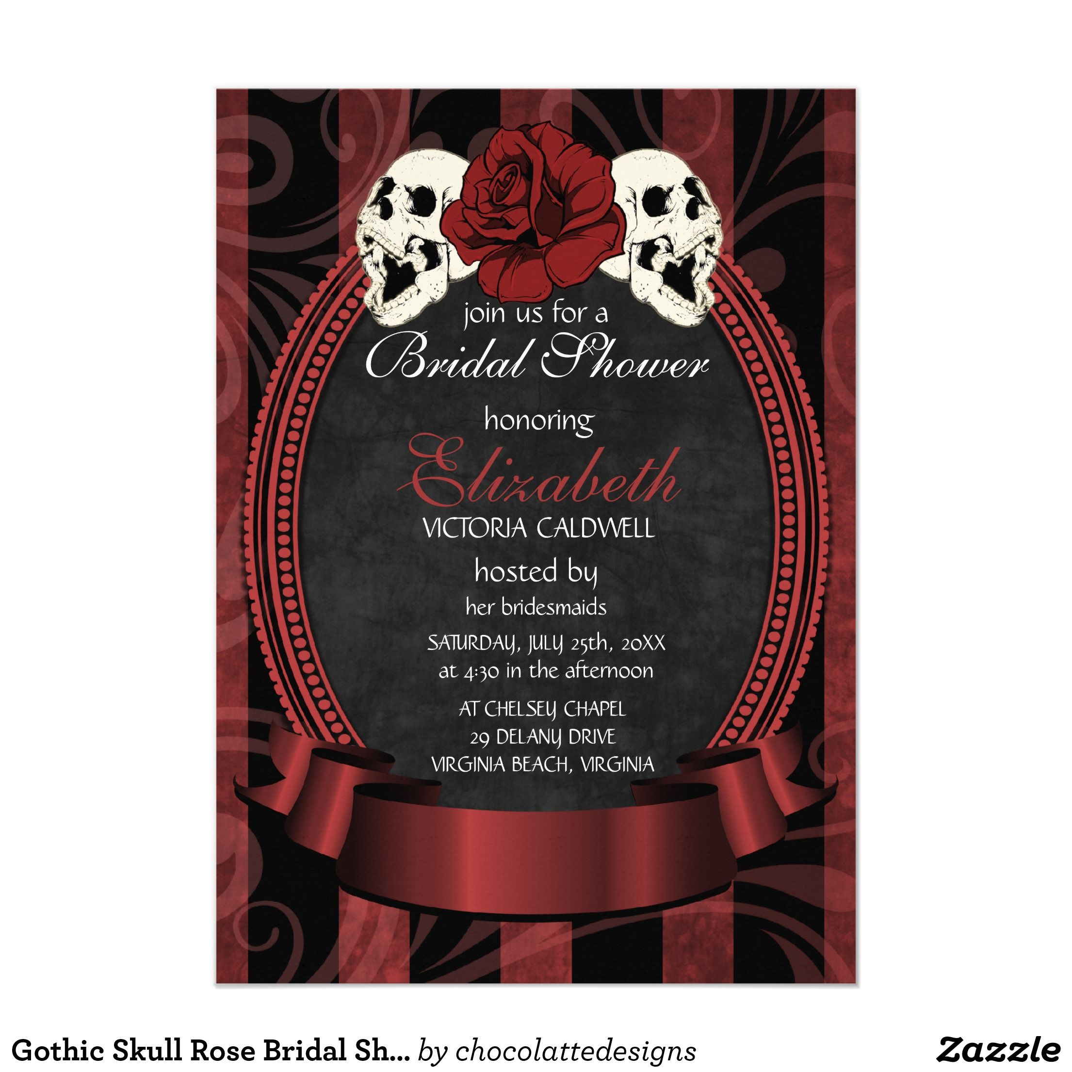 Gothic Skull Rose Bridal Shower Invitation | red | Wedding ...