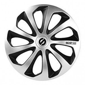 SPARCO SPC1473SVBK Wheel Covers, 14-inch, Sicilia Silver/ Black, Pack of 4