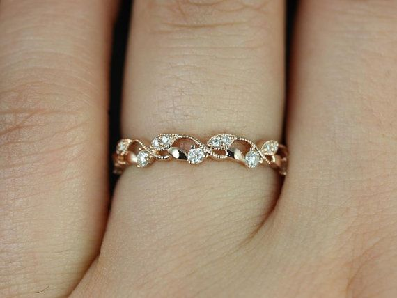 <3 :) Daphine 14kt Rose Gold Thin Weaving Leaves Diamonds by RosadosBox