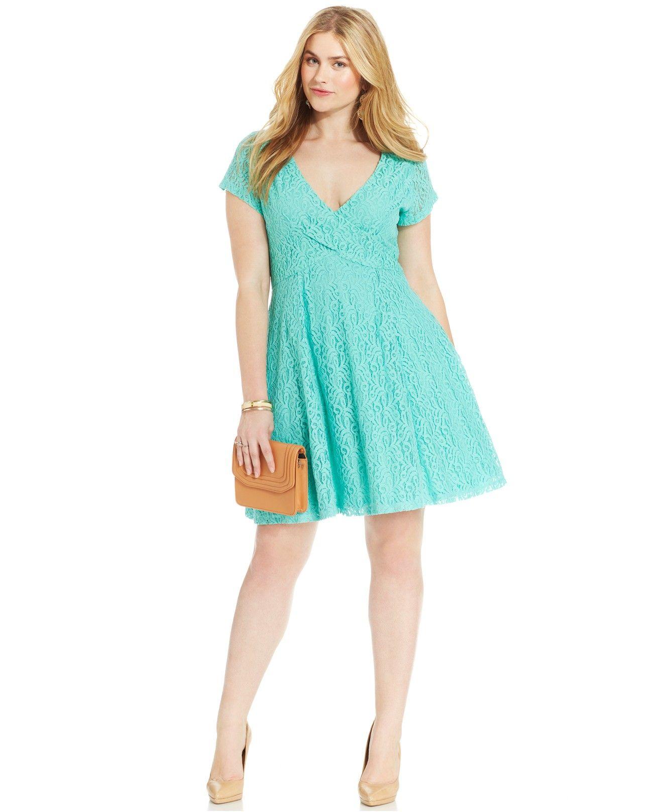 Jessica Simpson Plus Size Kaitlee Lace A-Line Dress - Dresses ...