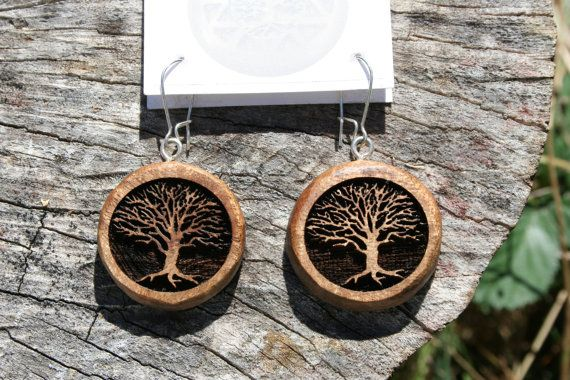 Wood Tree Of Life Earrings In Oregon Myrtlewood Mod By Mysticorb